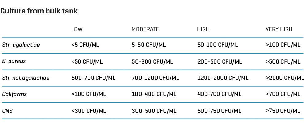 Culture from bulk tank (S. aureus, Str. agalactiae, Coliforms and CNS)